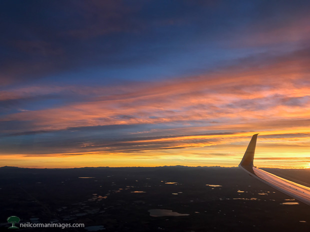 Airplane Arrival into Denver at Sunset